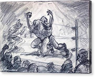 The Wrestling Match Canvas Print by Bill Joseph  Markowski