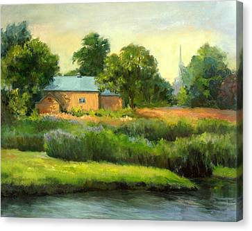 Canvas Print featuring the painting The Yellow Barn by Vikki Bouffard