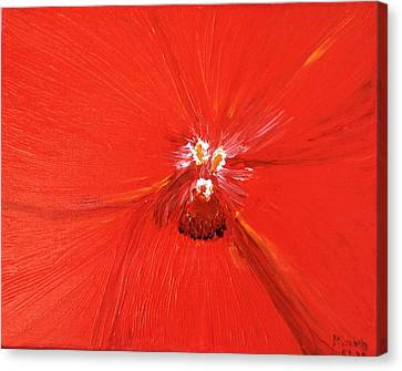 The Zoom Of Red Orchid Canvas Print by Pretchill Smith