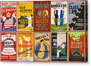 Theatre Posters Of The 1930s And 1940s Canvas Print by Don Struke