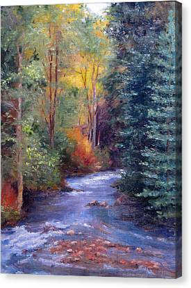 Thecreekearlyfall Canvas Print by Victoria  Broyles