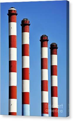 Thermal Powerplant Chimneys Canvas Print by Sami Sarkis