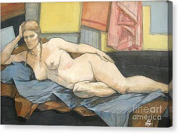 Canvas Print featuring the painting Thesa by Bob  George