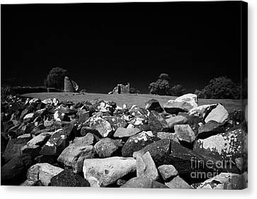 Thick Exterior Wall Around The Remains Of The 6th Century Monastic Site At Nendrum On Mahee Island Canvas Print by Joe Fox