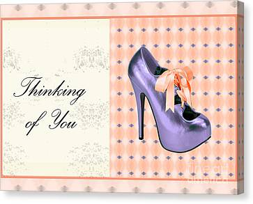 Digital Art Of High Heels Canvas Print - Thinking Of You Bow Shoe by Maralaina Holliday