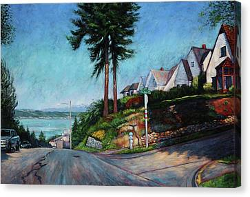 Canvas Print featuring the painting Thirtieth And Cedar  by Charles Munn