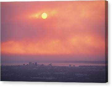 This Sunset Of The Anchorage Skyline Canvas Print by George F. Mobley