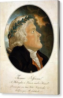 Thomas Jefferson, Color Aquatint Afte Canvas Print by Everett