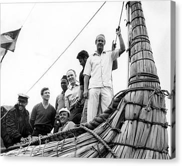 Thor Heyerdahl And Crew On Ra Canvas Print by Everett