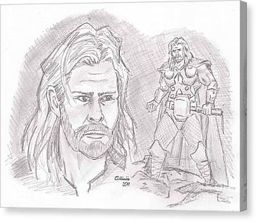 Thor Odinson- God Of Thunder Canvas Print by Chris  DelVecchio