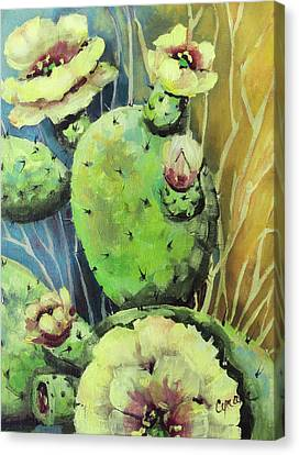 Those Bloomin' Cactus Canvas Print by Cynara Shelton