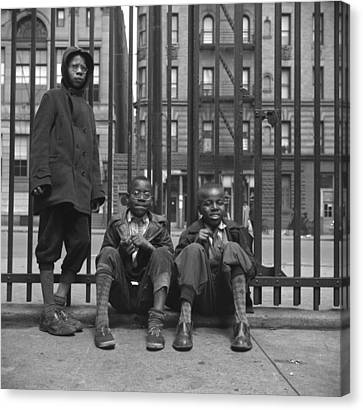 Three African American Boys In Harlem Canvas Print by Everett