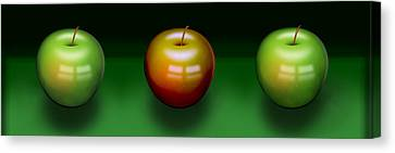 Three Apples Canvas Print by Katy Breen