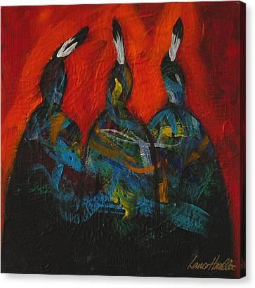 Three At The Fire Canvas Print by Lance Headlee