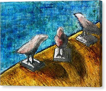 Three Birds Blue Canvas Print by James Raynor