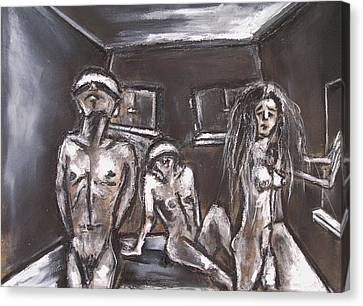 Three Blinded People Unable To Find A Way Out Canvas Print by Kenneth Agnello