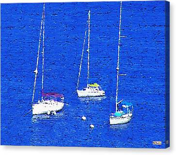 Three Boats Canvas Print by Paula Greenlee