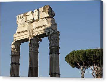 Three Columns And Architrave Temple Of Castor And Pollux Forum Romanum Rome Canvas Print by Bernard Jaubert