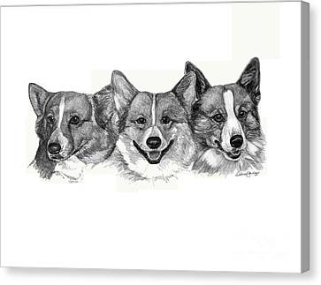 Three Corgies Canvas Print