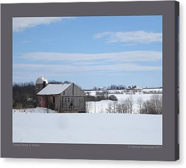 Three Farms In Winter Canvas Print by Patricia Overmoyer