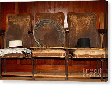 Three Hats A Lasso And A Cane At The Old Movie Theater . 7d12726 Canvas Print by Wingsdomain Art and Photography