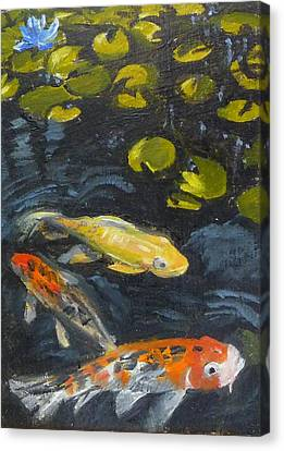 Three Koi And Lily Canvas Print