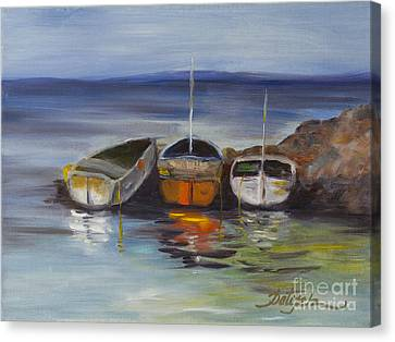 Three Lonely Boats Canvas Print by Pati Pelz