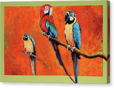 Canvas Print featuring the painting Captive Birds And Abstracted Rain Forest   by Charles Munn
