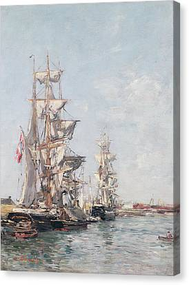 Three-masted Boats At The Quay In Deauville Harbour Canvas Print by Eugene Louis Boudin