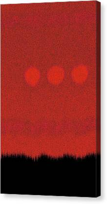 Three Moons In Red Sky Canvas Print by James Mancini Heath