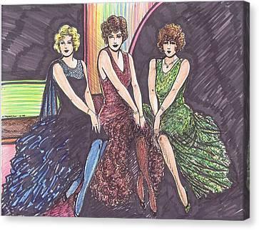 Three Movie Ladies Canvas Print
