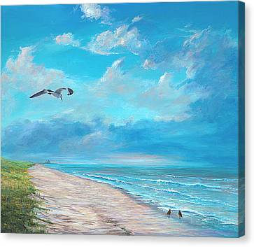 Canvas Print featuring the painting Three O'clock by AnnaJo Vahle
