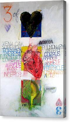 Canvas Print featuring the painting Three Of Hearts 32-52 by Cliff Spohn
