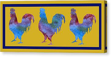 Three Roosters Canvas Print by Jenny Armitage