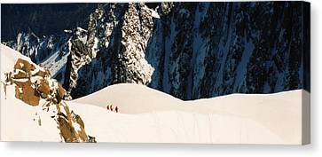 Three Skiers At Chamonix Canvas Print