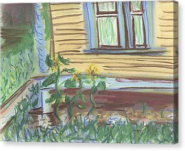 Canvas Print featuring the pastel Three Sunflowers By The Porch by Denny Morreale