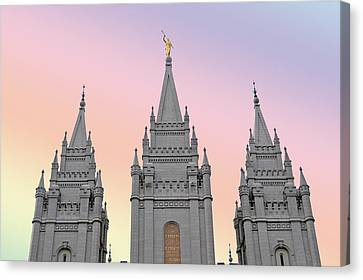 Three Tower Salt Lake City Canvas Print by Maria isabel Villamonte