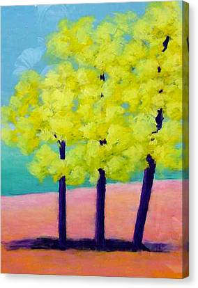 Three Trees On Beach Canvas Print by Karin Eisermann