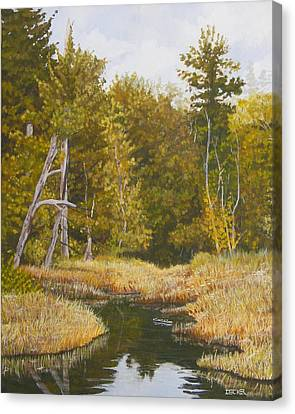 Canvas Print featuring the painting Three Turtles Lake Conestee by Robert Decker