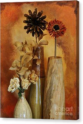 Three Vases Of Dried Flowers Canvas Print by Marsha Heiken