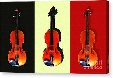 Three Violins . Painterly Canvas Print by Wingsdomain Art and Photography
