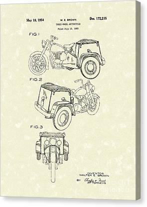 Three Wheel Motorcycle 1954 Patent Art  Canvas Print by Prior Art Design