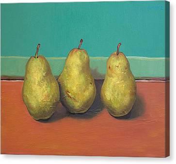 Three Yellow Pears With Green Wall Canvas Print by Yuki Komura