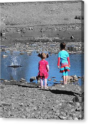 Throwing Stones Canvas Print by Paul Ward