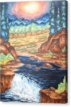 Thru The Mountains Canvas Print