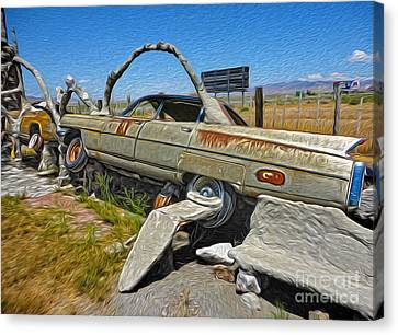Thunder Mountain Indian Monument - Car Wrecks Canvas Print by Gregory Dyer