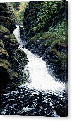 Canvas Print featuring the painting Thunderbird Falls by Kurt Jacobson