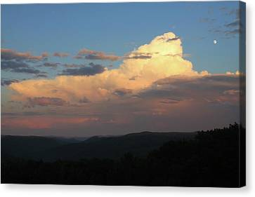 Thunderstorm Over Deerfield River And Green Mountains Canvas Print by John Burk