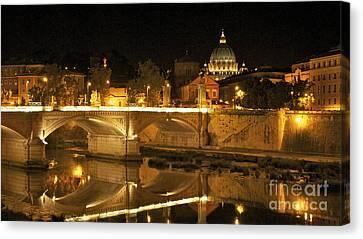 Tiber River And Ponte Vittorio Emanuele II Bridge With St. Peter's Basilica. Vatican City. Rome Canvas Print by Bernard Jaubert