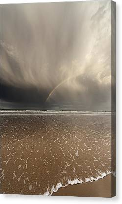 Tide Coming Up Onto The Beach Canvas Print by John Short